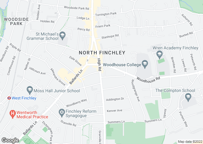 Map for Tally Ho Corner, North Finchley