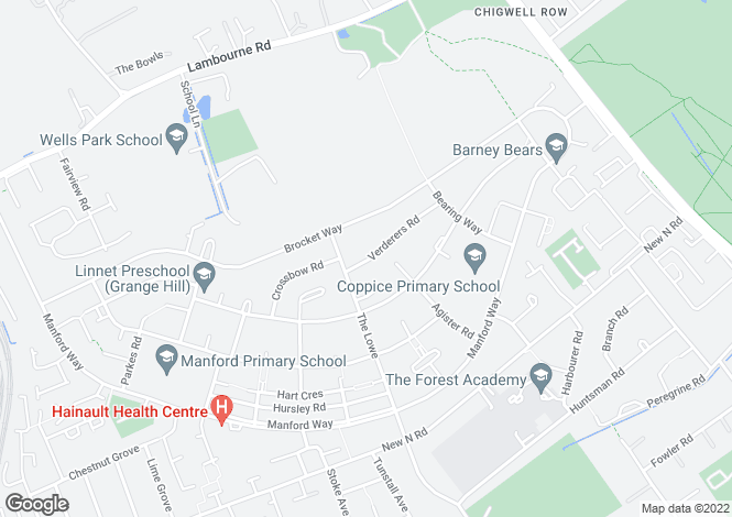 Map for Verderers Road, Chigwell