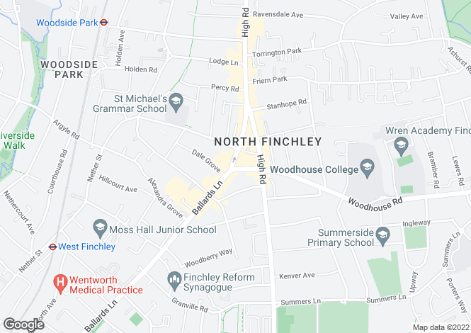 Map for Kingsway, North Finchley, London