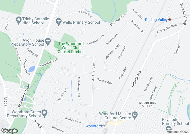Map for Monkhams Drive, Woodford Green