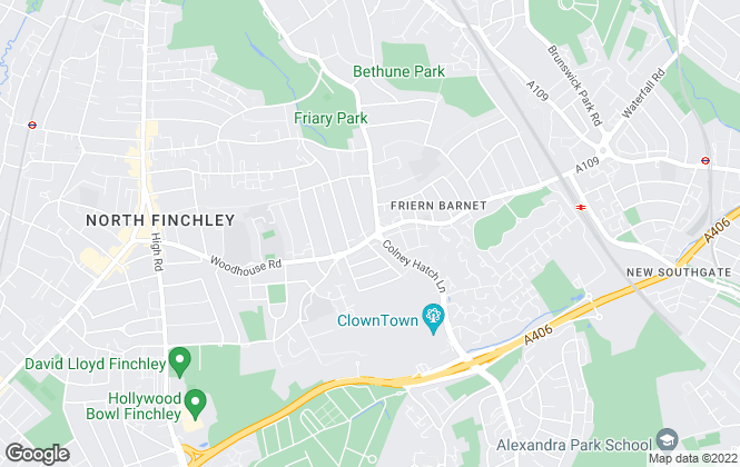 Map for Woodhouse Estates, Friern Barnet