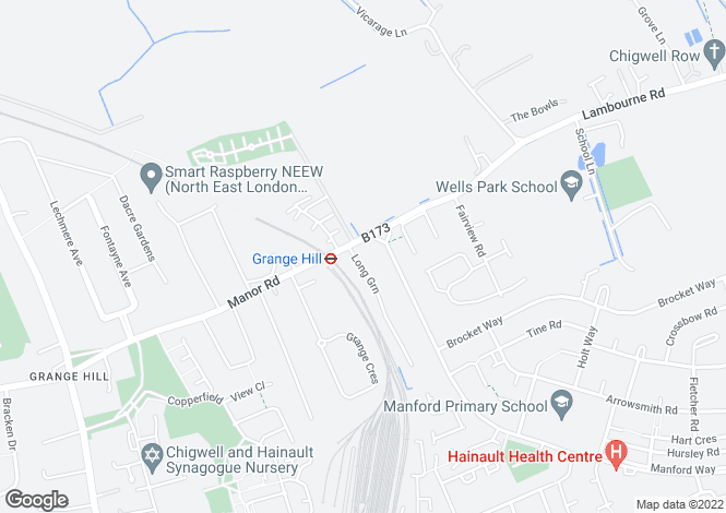 Map for Manor Road, Chigwell, IG7