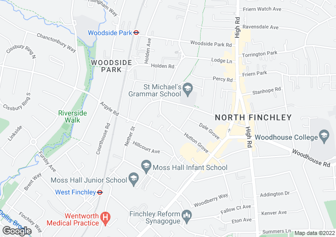 Map for HUTTON GROVE FINCHLEY N12