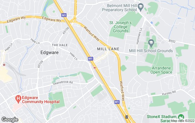 Map for Ellis & Co, Mill Hill