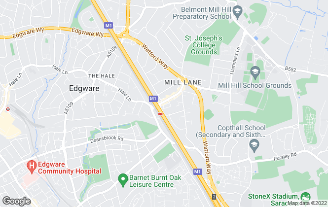 Map for Hetheringtons, Mill Hill