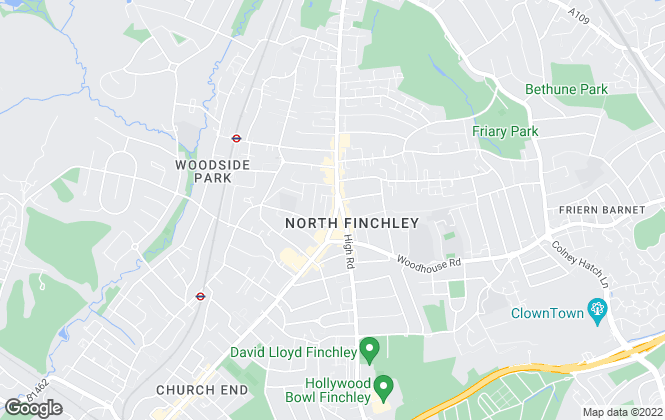 Map for Adam Hayes Estate Agents, North Finchley, N12