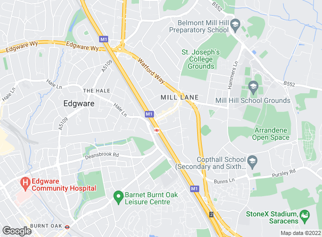 Map for Ellis and Co, Mill Hill