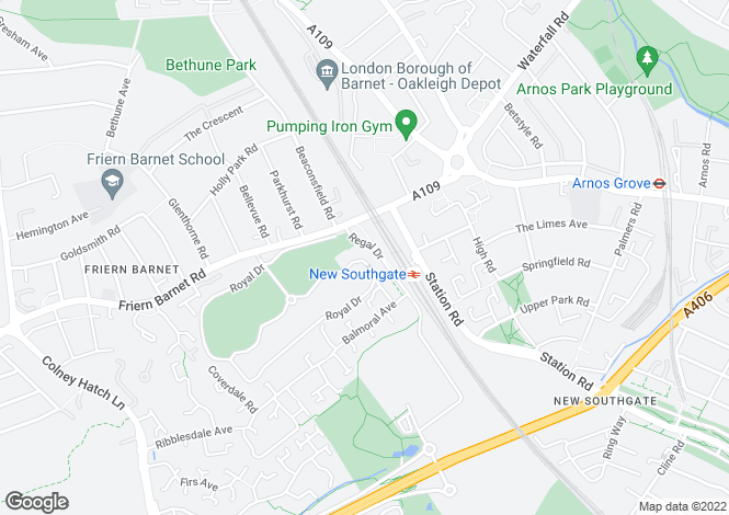 Map for Princess Park Manor, East Wing, Royal Drive, Friern Barnet, N11