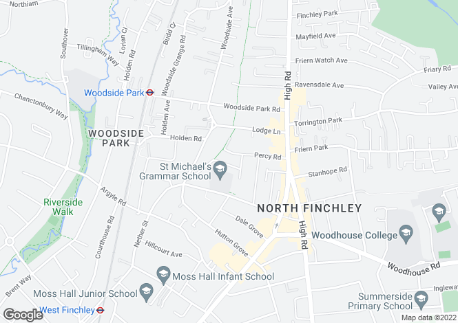 Map for Grange Avenue, North Finchley