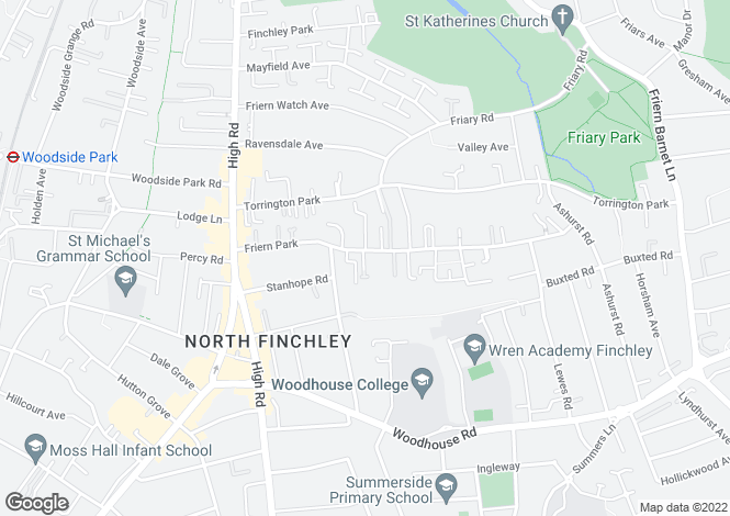 Map for Friern Park, Finchley, N12