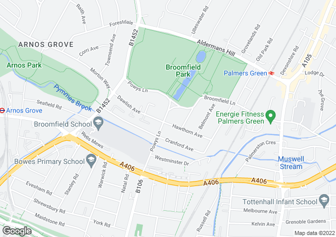 Map for Powys Lane, Palmers Green, N13
