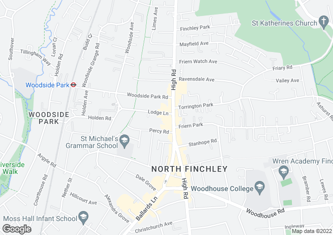Map for Lodge Lane  Finchley