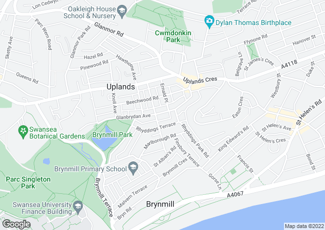 Map for Glanbrydan Avenue, Uplands, Swansea