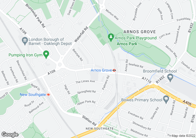 Map for Bowes Road, Arnos Grove, London