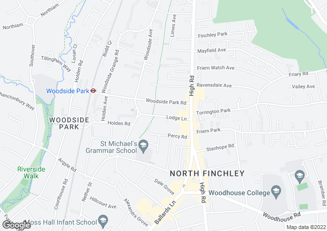 Map for Lodge Lane, North Finchley