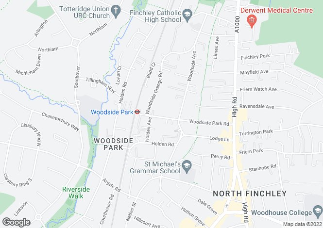 Map for Ashbourne Court, Ashbourne Close, Woodside Park, London