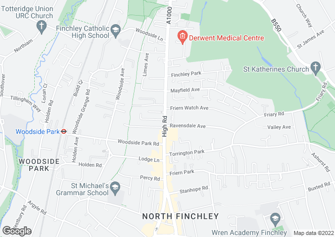 Map for High Road, North Finchley