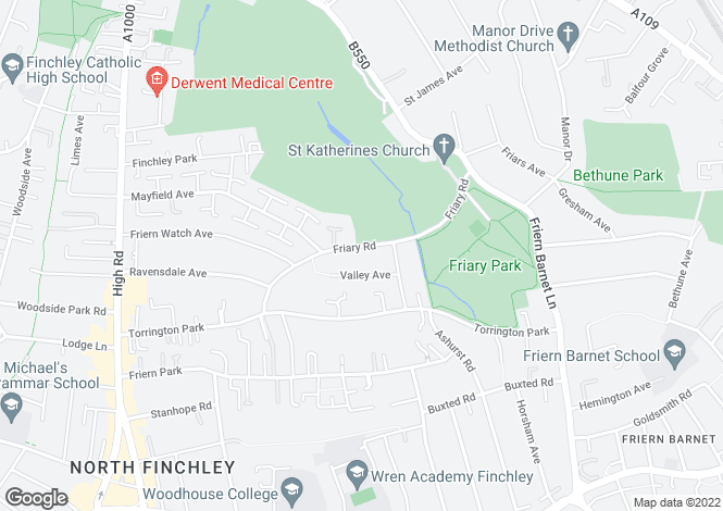 Map for Torrington Park, North Finchley