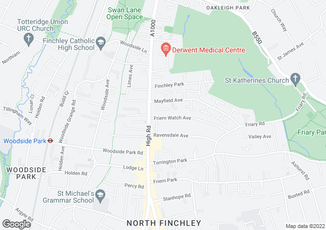 Map for Friern Watch Avenue, North Finchley, N12