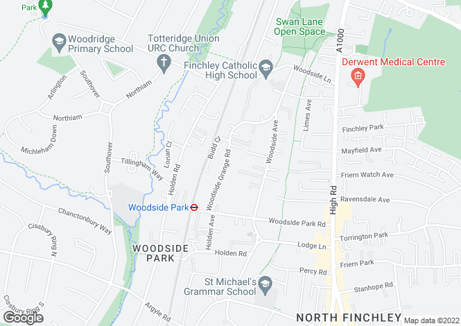 Map for Woodside Grange Road, Woodside Park