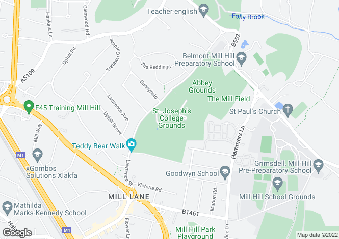 Map for St Joseph's, Lawrence Street, Mill Hill