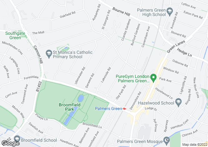 Map for Lakeside Road, Palmers Green, London, N13