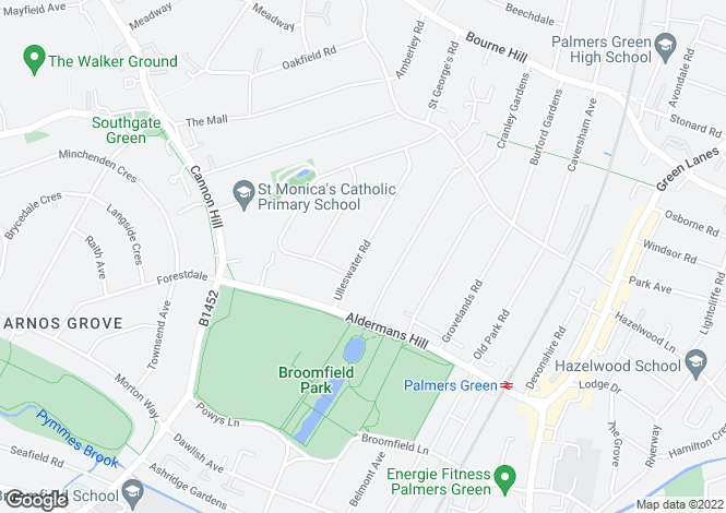 Map for Parklodge, Ulleswater Road, Southgate, N14