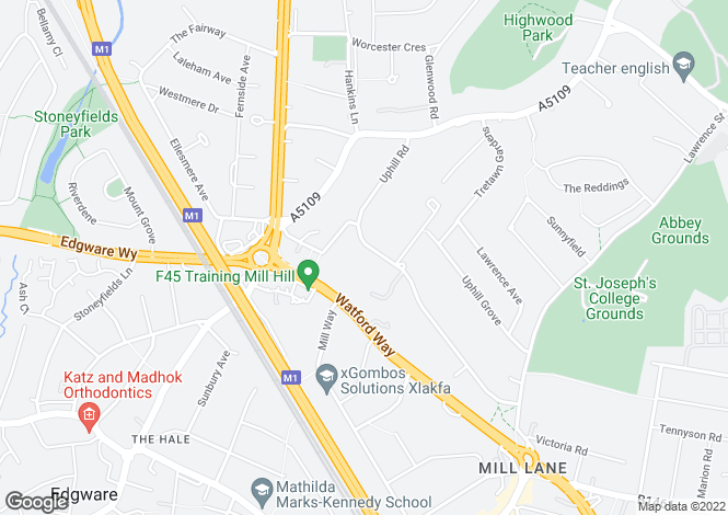 Map for Uphill Rd Mill Hill NW7