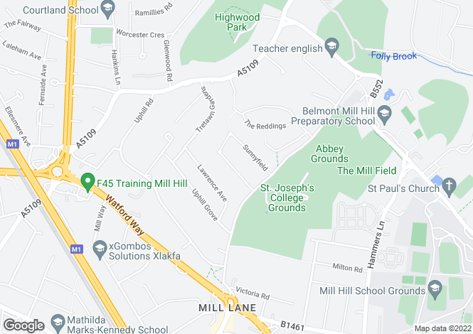 Map for Sunnyfield, Mill HIll, London, NW7