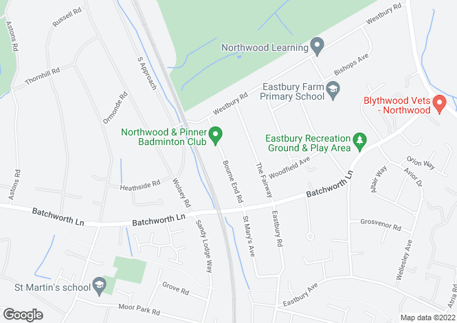 Map for Bourne End Road, Northwood