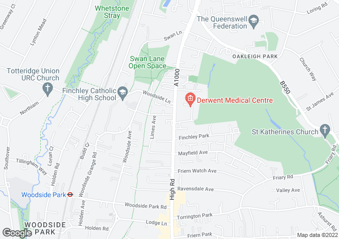 Map for 931-973 High Road, Finchley, London, N12