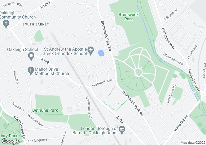 Map for Brunswick Crescent, Arnos Grove