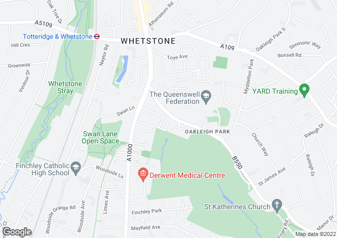 Map for Friern Barnet Lane, Whetstone, London