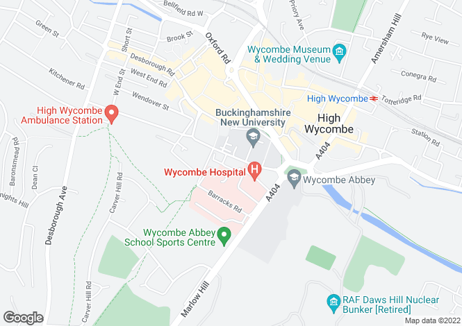 Map for Alexandra Park, High Wycombe