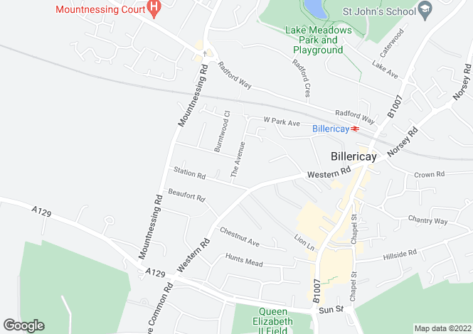 Map for Billericay, Essex