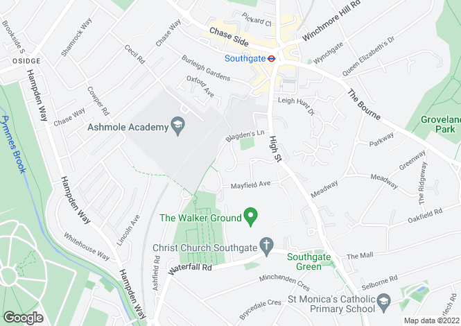 Map for Blagdens Close Southgate N14