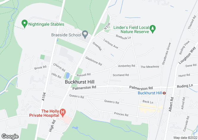 Map for Russell Road, Buckhurst Hill