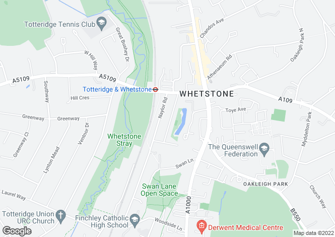 Map for Birley Road, Whetstone, Barnet