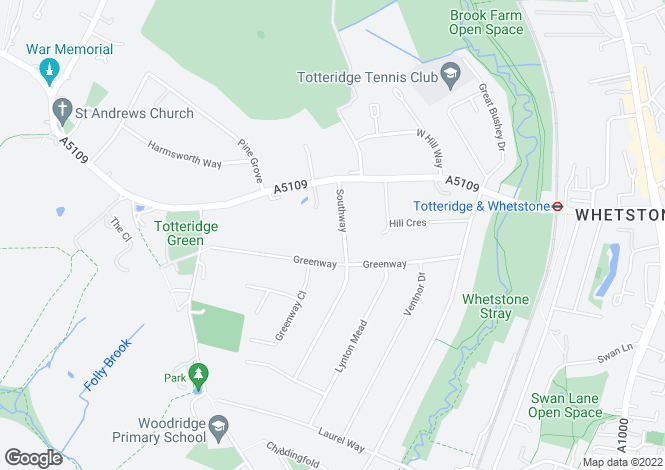 Map for Southway, Totteridge, London, N20