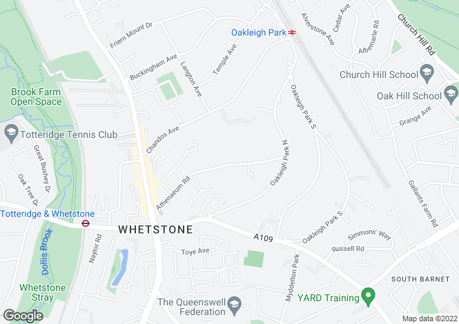 Map for Athenaeum Road, Whetstone