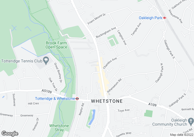 Map for High Road, Whetstone, N20