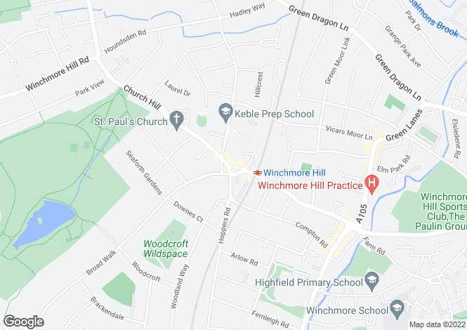 Map for The Green  Winchmore Hill