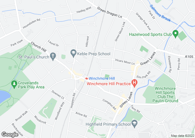 Map for Ringwood Way, Winchmore Hill N21