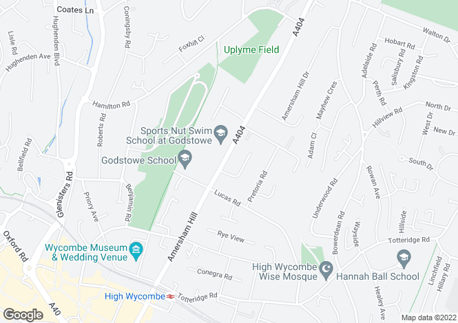 Map for Amersham Road, High Wycombe