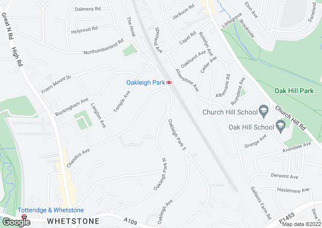 Map for Oakleigh Park North, Whetstone, N20