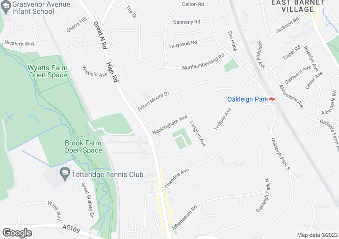 Map for Buckingham Avenue, Whetstone, London, N20