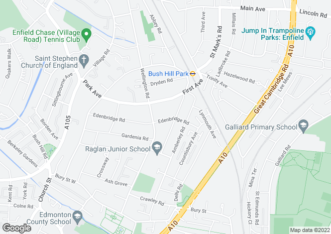 Map for Edenbridge Road, Enfield, Middlesex