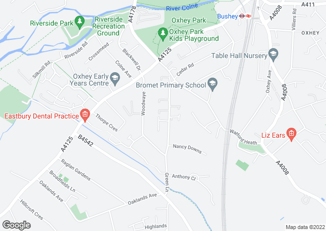 Map for Blueberry Close, Oxhey, Watford