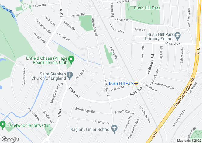 Map for WELLINGTON ROAD, BUSH HILL PARK, ENFIELD, EN1