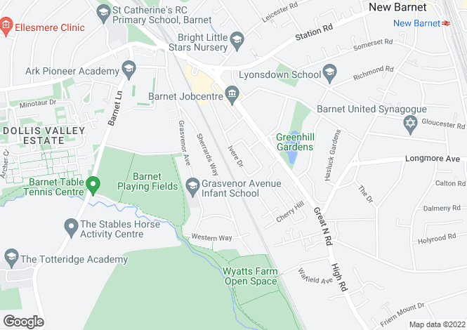 Map for IVERE DRIVE BARNET